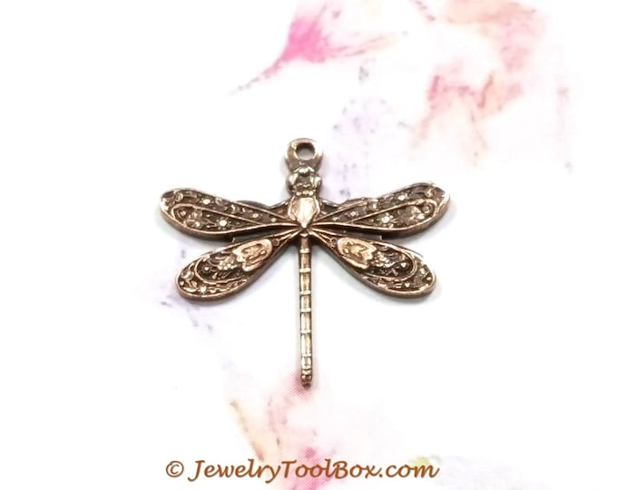 Antique Copper Dragonfly Charm Pendants, 16x17mm, 1 Loop, Small, Made in the USA Brass Stamping, Lot Sizes Lot Size 6 to 20, #01C