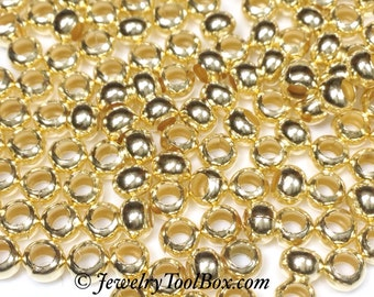 6/0 GILDING GOLD Plated, Brass Seed Beads, Size 6, 3x4mm, Brass Spacer Beads, Made in the USA, Lead Free, Lot Size 32 grams, #1415