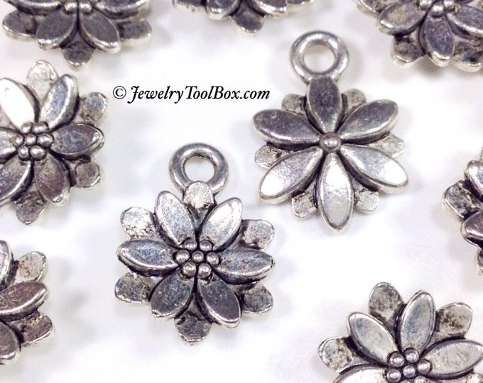 Metal Daisy Charms, Flower Pendants, Antique SILVER Flowers, Lead Free, Nickel Free, 14x10x3mm, Lot Size 10 to 50, #2001