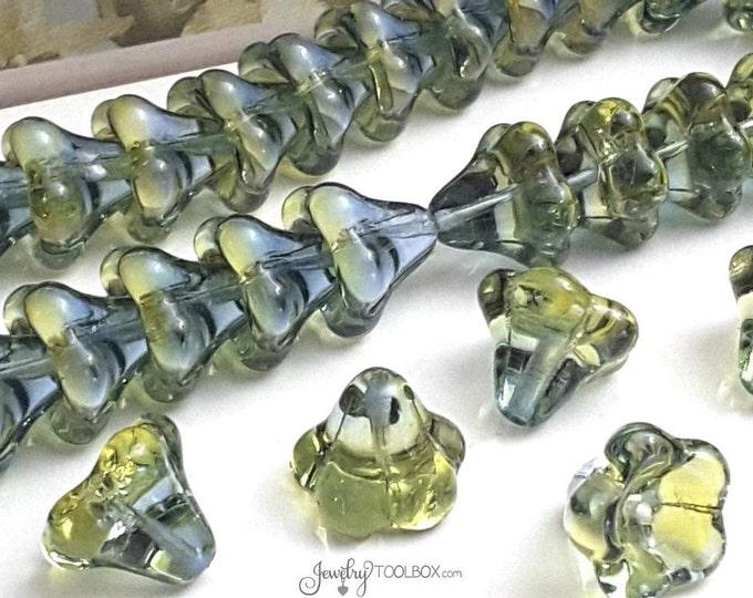 Olive Capri Blue Bell Flower Beads, Czech Glass Beads, Large Bell Flower Bead Cap, 11x13mm Bell Flower Beads, Lot Size 10, #308