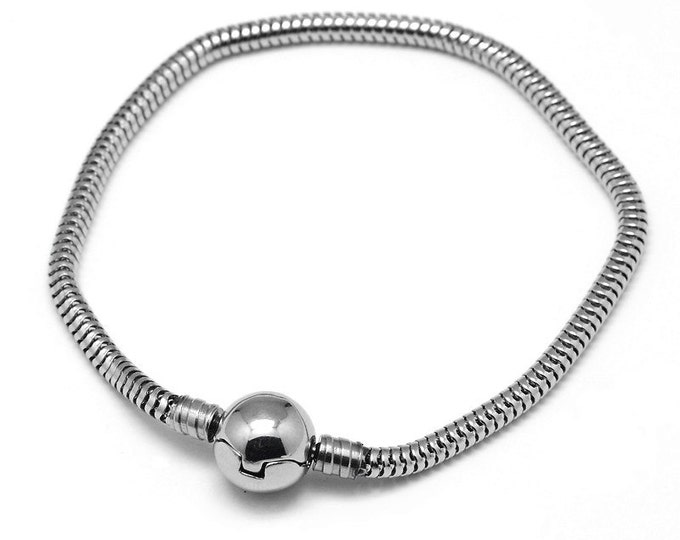 Snake Chain Bracelet, Stainless Steel, Locking Ball Clasp, Fits Large Hole Beads 4.5mm hole and up, 3.5 ~ 4mm Thick, Lot Size 1 to 5, #1898