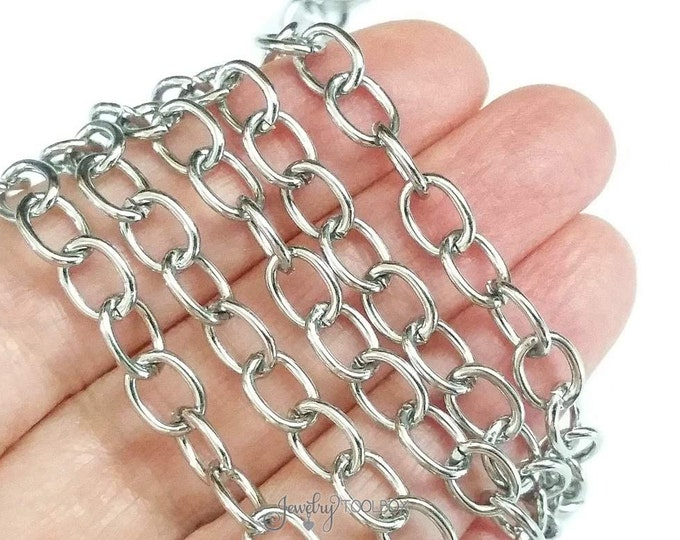 Stainless Steel Jewelry Chain, Silver Color Chain, Non Tarnish Chain, Hypoallergenic, 8x6mm Oval Open Links, Lot Size 2 to 20 Feet #1935