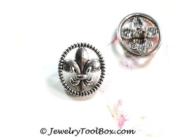 Metal Buttons, Fleur De Lis Design, Shank 2mm, Antique Silver Pewter, 17x15mm Lot Size 5 to 30, #1270
