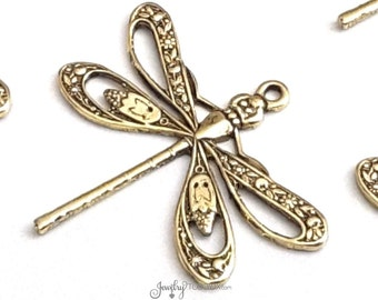 Large Filigree Dragonfly Charms, Gold Dragonfly Pendants,  FILIGREE Pendants, Gold Jewelry Components, 1 LOOP, 21x24mm, Lot Size 4+, #08G