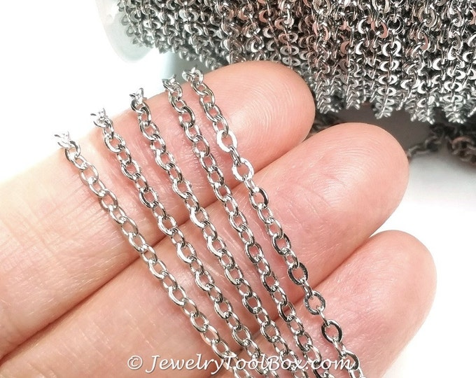 Brass Cross Chain, 10 Feet Platinum Silver Color, Cable Rolo, 3.5x3mm Oval Open Links,0.5mm Thick,  #2905 P