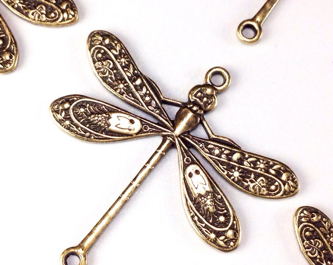 Dragonfly Pendant Charms Connector, 24x24mm, 2 Loops, Antique Brass, Large, Made in USA, Lead Free, Nickel Free, Lot Size 6 to 20, #05B
