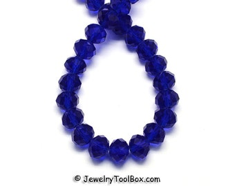 DARK BLUE Crystal Rondelles, Faceted Glass Abacus Beads, 16 to 24 inch Strands, Choose Bead Size 6x4mm, 8x6mm, 10x7mm, 12x8mm, Hole 1mm