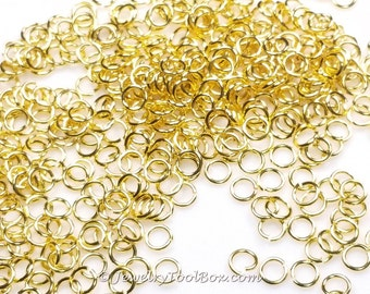 Gold Jump Rings, Brass, Gold Finish, 5mm x 0.8mm, 20 gauge, Lot Size 100 to 1000