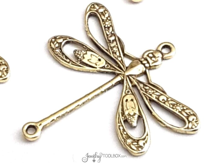 Large Gold FILIGREE Dragonfly Jewelry Connectors, Dragonfly Pendant Charms, Insect Gold Findings, 2 LOOPS, 24x24mm, Lot Size 6 to 20, #09G
