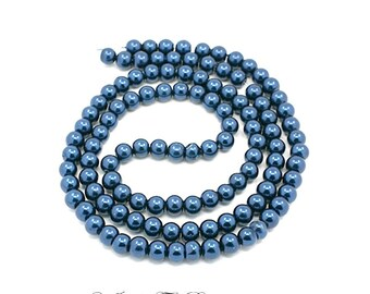 Glass Pearl Bead Strands, Pearlized Round Glass, Steel Blue, 36 inch Strand, Choose 4mm, 6mm, 8mm, 10mm, Hole 1mm
