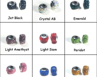 Rhinestone Bead, Stainless Steel Large Hole Beads, Crystal Inlay,  Stainless Steel Core, 8x12mm, 5mm Hole, Priced Per One Bead, #18XX