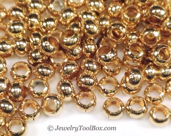 Metal Seed Beads, 11/0, Size 11, 24K GOLD Plated, 1.5x2.5mm, Brass Spacers, Made in the USA, Lead Free, Lot Size 15 grams, #1441
