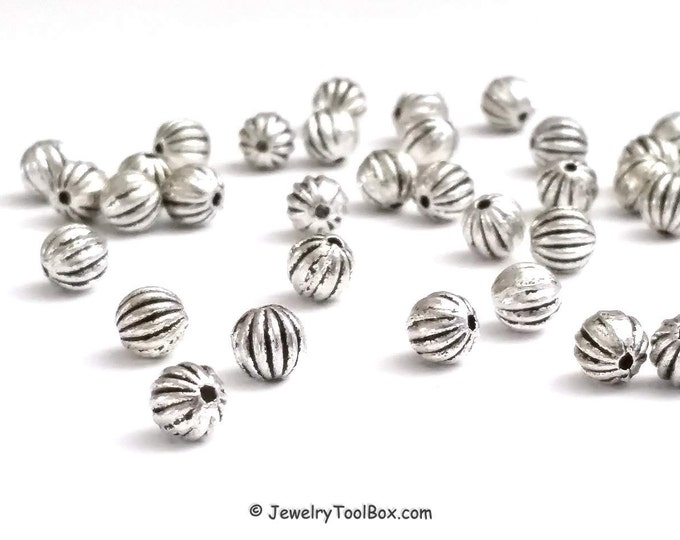 50 Metal Beads, 6mm Round Corrugated Antique Silver Pewter Spacer Beads, 1mm Hole, Lead Free, #1081