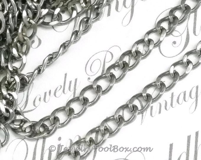 Twist Chain, Stainless Steel, 316 Grade, 4.5x1mm, Open Links, Hypoallergenic, Non Tarnish, Lot Size 2 to 20 feet, #1924