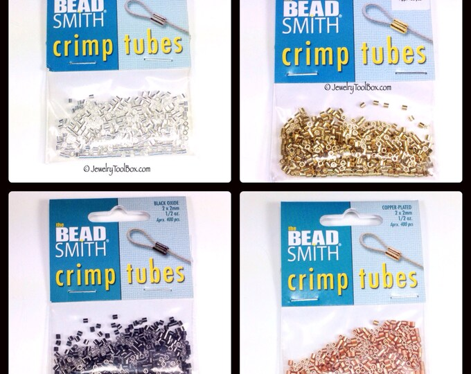 Crimp Bead Tubes, 100 or 400 Pieces, 2x2mm, Choose Silver, Gold, Copper or Black Finish Metal, xx 41
