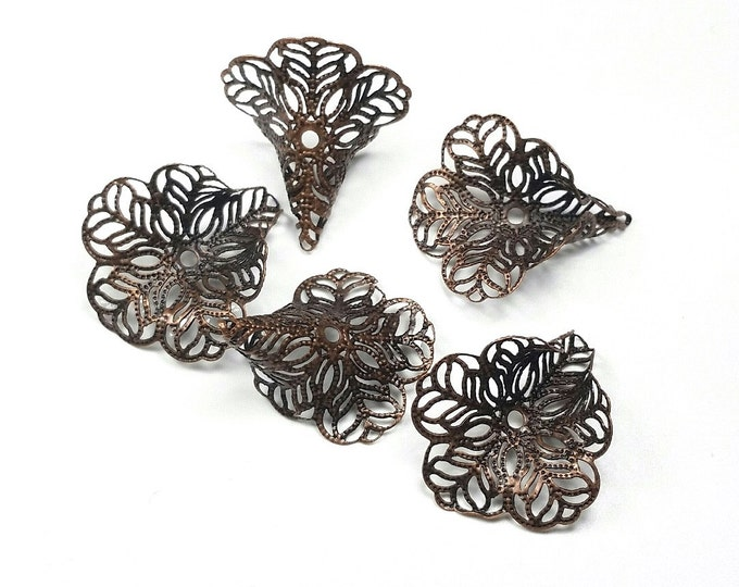 Filigree Bead Caps, Antique Copper Flower, 3 Petal, Bendable Tips, 24x29mm, 1.2 mm Hole, Lot Size 10 to 50, #2055 R