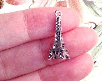 Eiffel Tower Charm, Antique Silver Paris Pendant, 3 Dimensional, Lead Free, Nickel Free, 24x8x7mm, 1.5mm Loop, Lot Size 20 to 50, #2037 CBK