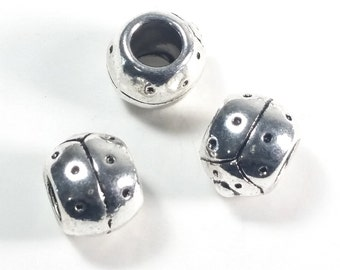 Ladybug Beads, Large Hole Animal Beads Antique Silver Pewter Jewelry Findings, Lead Free, 8x11mm, 5mm Hole, Lot Size 6 to 25, #1368 BH