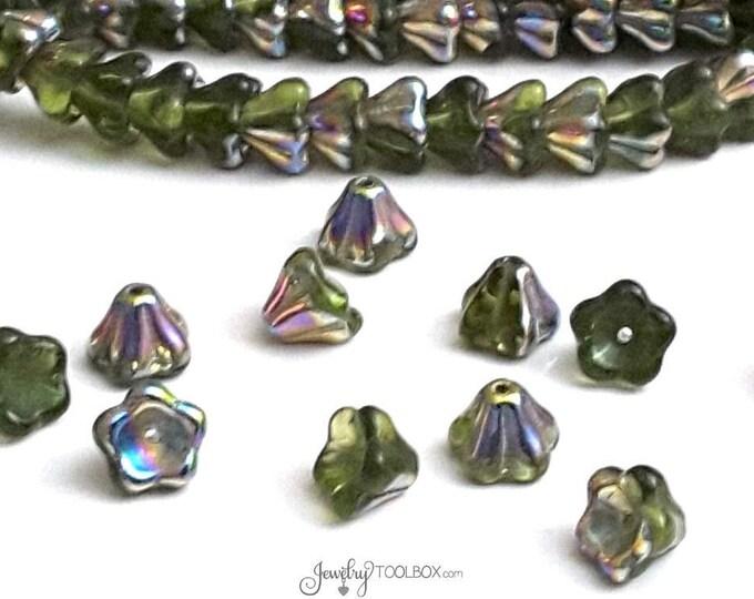 Olivine Bell Flower Beads, 8x6mm, Czech Glass Beads, Flower Bead Cap, Olive Green Beads, Lot Size 25 Beads, #218