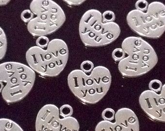 I Love You Heart Charms, Antique Silver Heart Pendant, Double Sided, 12x11mm, 2mm Loop, Lead Free, Nickel Free, Lot Size 25 to 50, #2088