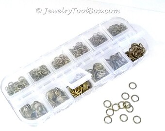 Brass Jump Ring Kit, Antique BRONZE, Nickel Free, Assorted Sizes, Flip Top Box, 4mm to 10mm diameter, 0.7 to 1mm thick