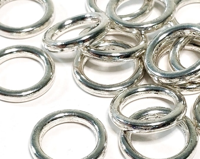 18mm Round Loops, Soldered Closed Rings, Jewelry Connector, 18x3mm Round Links, Antique Silver Pewter, Lot Size 10 to 50, #1360