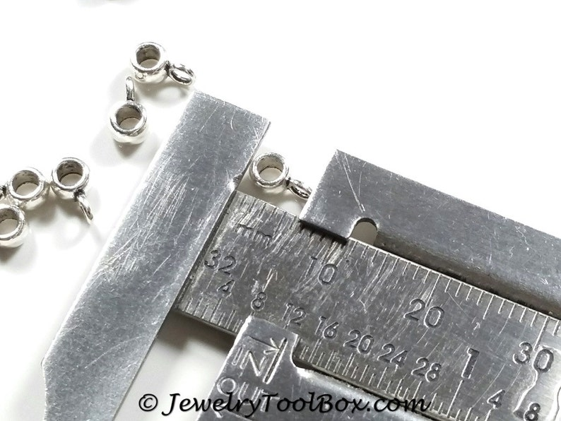 TINY Antique Silver Pewter Jewelry Making Supplies #1245 3mm Hole Lead Free 7x3mm Charm Pendant Bails 2mm Loop Lot Size 25 to 200