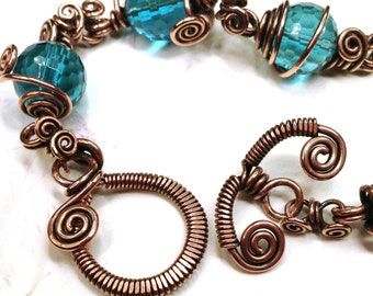 TUTORIAL - Wrapped Toggle Clasp Wire Jewelry Making Tutorial, PDF download only