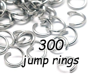 Stainless Steel Jump Rings, Open, 300 Pieces, Choose Ring Size, 4mm, 5mm, 6mm, 7mm, 8mm, Hypoallergenic, 300 PIECES