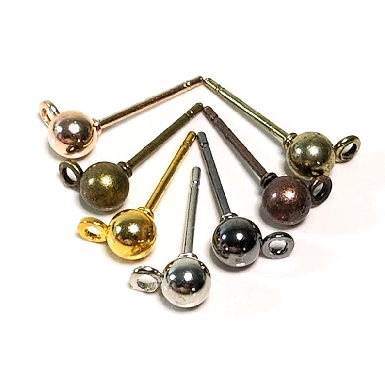 Ball Earring Post Studs with Loop Choose from 7 Metal image 0
