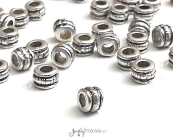 Carved Barrell Beads, Pewter Metal Beads, Antique Silver Beads, 3.5x3.5mm, 2.5mm Big Hole Beads, Lead Free, Lot Size 20 or 50, #1302 BH