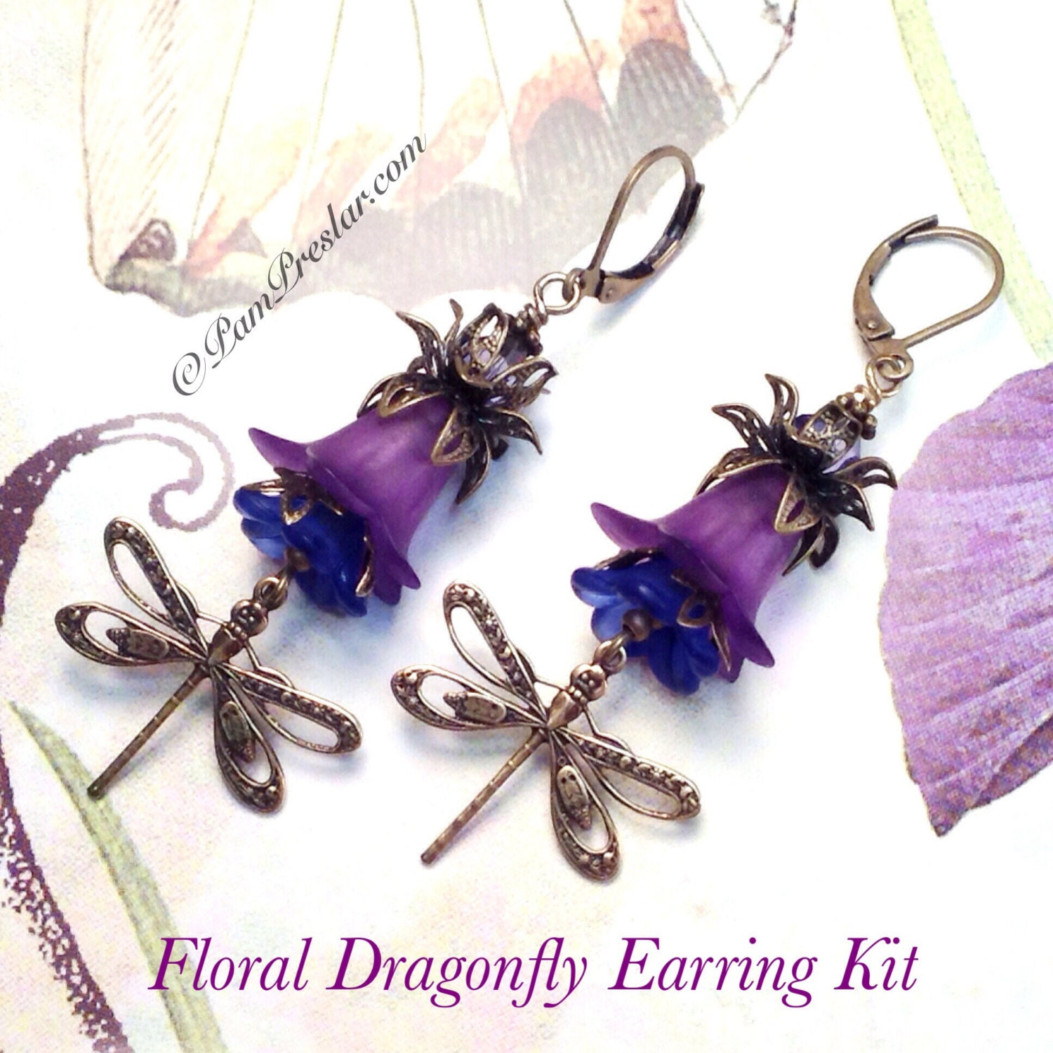 Do it yourself jewelry kit make your own earrings kit purple do it yourself jewelry kit make your own earrings kit purple floral dragonfly earring kit vintage flower design 001 solutioingenieria Choice Image
