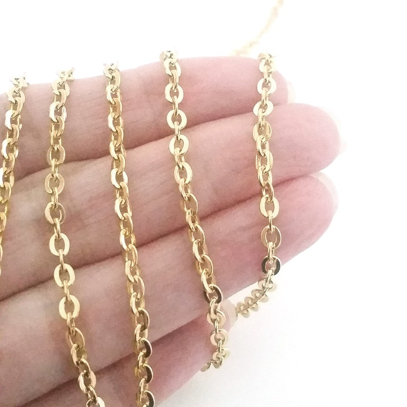 Gold Stainless Steel Jewelry Chain 3x4mm Oval Open Flattened image 0