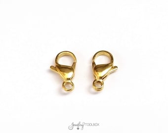 Gold Stainless Lobster Clasps, 15mm, Gold Color Stainless Steel Jewelry Making Supplies, Lot Size 5 to 20, #1335 G