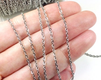Stainless Steel Chain, Bulk Chain, Jewelry Making Chain, Fine Chain, Oval Links, Hypoallergenic, 3x2mm Links, Lot Size 4 to 20 feet, #1909