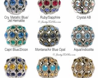 Encrusted Filigree Beads, Silver Plated Brass with Swarovski Elements, 30 Color Selection, 8mm Round, Priced per bead