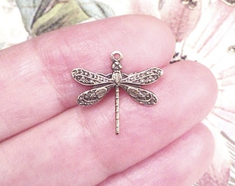Dragonfly Charms, Pendant, 16x17mm, 1 Loop, Antique Brass, Small, Made in the USA, Lead Free, Nickel Free, Lot Size 4  to 24, #01B