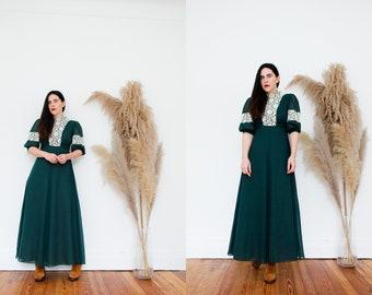 Vintage Kati by Laura Phillips Prairie Floral Cotton Cottage Core Maxi Dress 70's