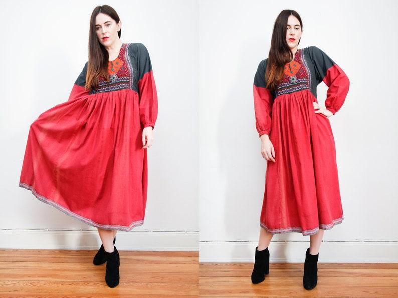 35517c55163 Vintage Indian Cotton Tribal Afghan Kaftan Kimono Cape Boho