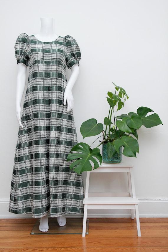 Vintage Cotton Prairie Floral Peasent Maxi Dress - image 2