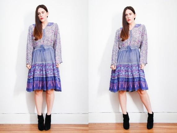 Vintage Indian Cotton Gauze Dress Boho Dress Hippi