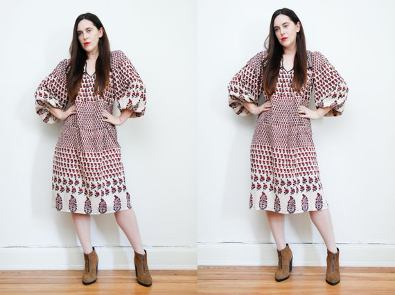 Vintage Indian Cotton Block Print Dress Boho Dress
