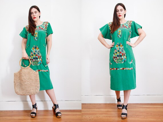 Robe en coton fleuri Vintage mexicaine 70 brodé Oaxaca caftan  c31886bdfd4