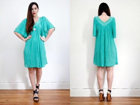 Vintage Indian Cotton Grecian Cotton Gauze Dress B