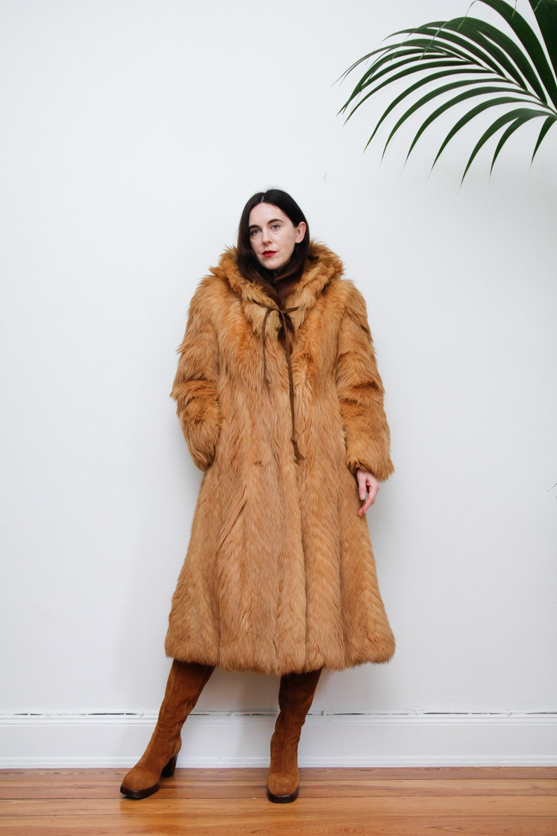 Vintage Fur Afghan Real Fur Tibetan Hooded MongolianPenny Lane  Boho Coat 70/'s RARE