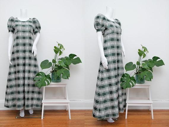 Vintage Cotton Prairie Floral Peasent Maxi Dress - image 1