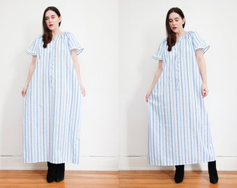 Vintage Cotton Smock Stripe Dress Boho Dress Hippie Dress Ethnic Frill Cotton Dress 70s