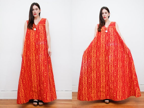 Vintage Indian Cotton Block Batik Kaftan Smock Max