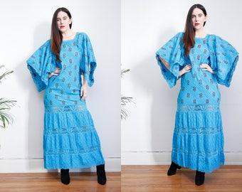 Vintage Cotton Mexican Dress floral Embroidered Oaxaca Kaftan Kimono Maxi Dress Sz S 70's