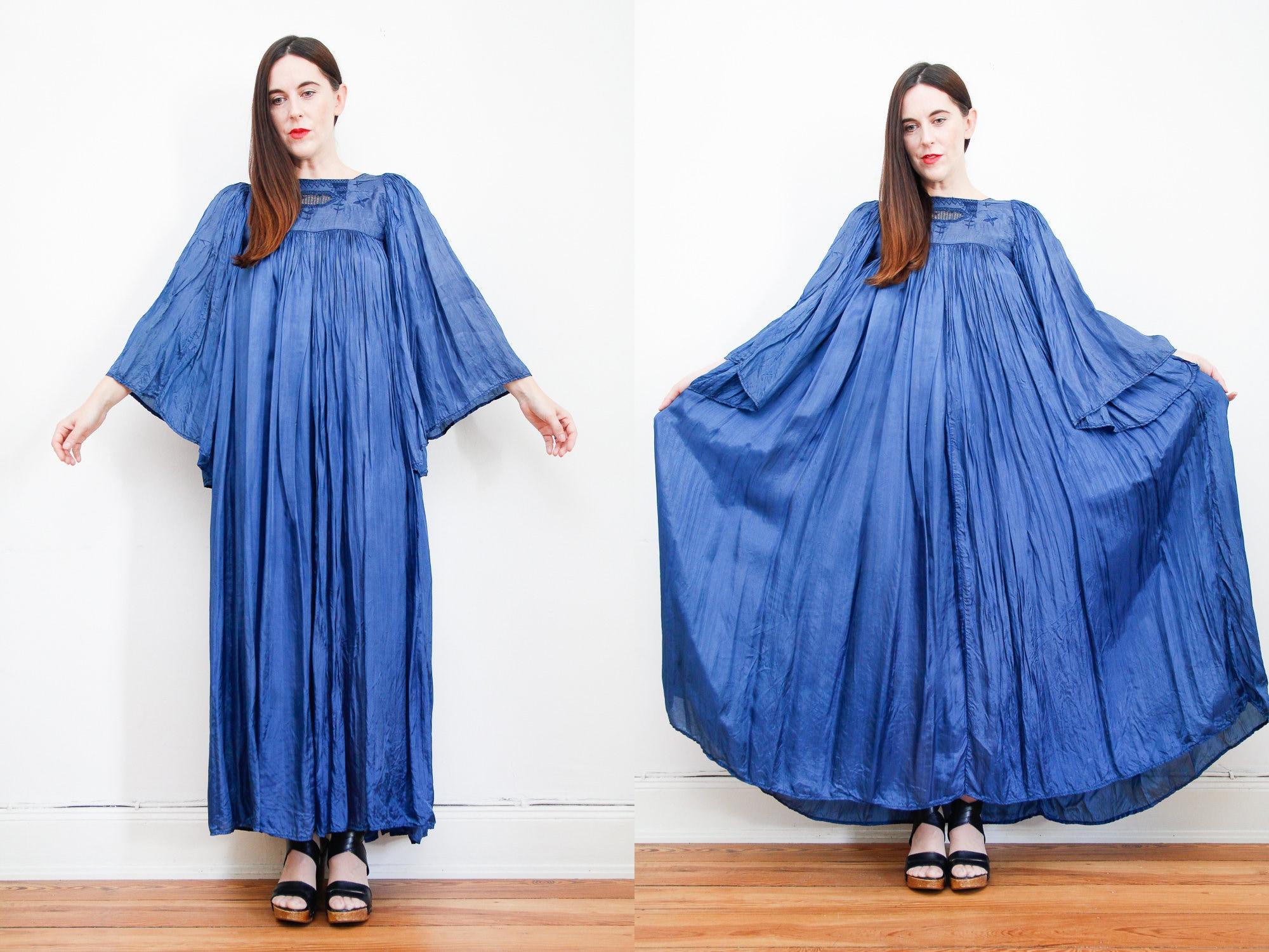 40172a9a198 Vintage Indian Silk Pleated Dress Boho Dress Hippie Dress